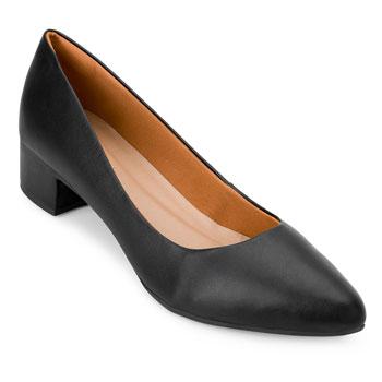 Sapato Salto Baixo Aquarela AQ20-002 Preto TAM 40 ao 44