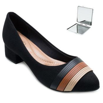 Sapato Beira Rio e Espelho RB21-4244102 Preto-Caramelo-Bege
