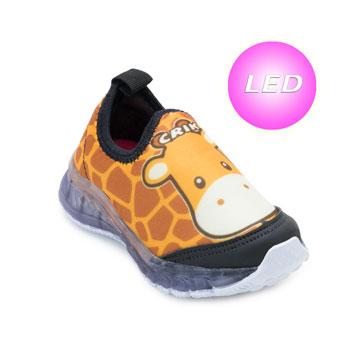 Tênis de Led Crik Baby Girafa CK21-X5B Caramelo-Preto