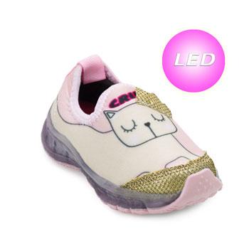 Tênis de Led Crik Baby Gatinha CK21-X5B Rosa-Dourado