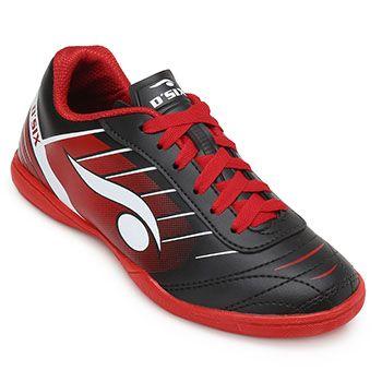 Chuteira Futsal Dsix DS19 Indoor 6204 Preto-Vermelho