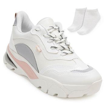 Tênis Dakota Dad Sneaker e Meia DT20-G1013 Branco-Cinza