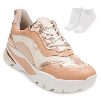 Tênis Dakota Dad Sneaker e Meia DT20-G1013 Nude