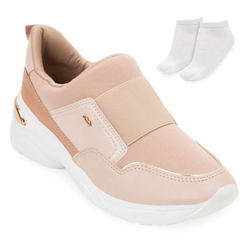 Tênis Dad Sneaker Dakota e Meia DT20-G2482 Bege-Nude-Branco