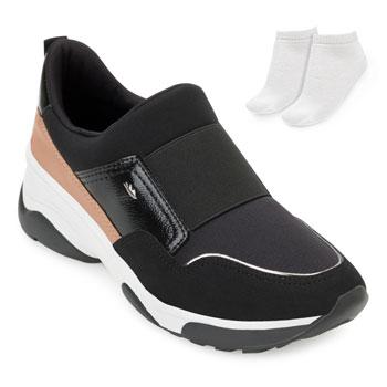 Tênis Dad Sneaker Dakota e Meia DT20-G2482 Preto-Nude-Branco