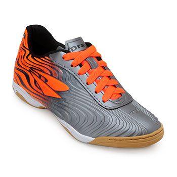 Chuteira Futsal Dray TopFly X2 Juvenil DR19-371CO Chumbo-Laranja
