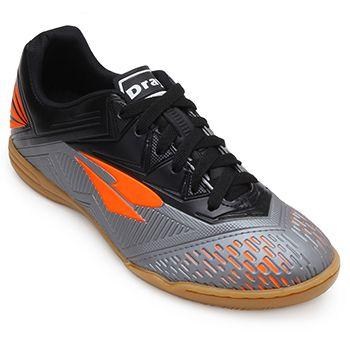 Chuteira Futsal Dray TopFlay DR18-367CO Chumbo-Laranja-Preto