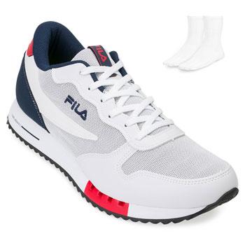 Tênis Fila Euro Jogger e Meia FL18 Branco-Marinho-Vermelho