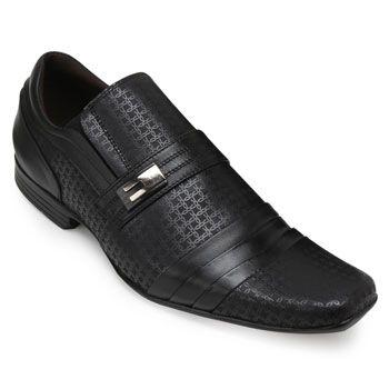 Sapato Focal Flex Couro FF18-1519 Preto TAM 44 ao 51