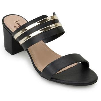 Tamanco Lady Queen AM20-1290228 Preto-Dourado TAM 40 ao 44