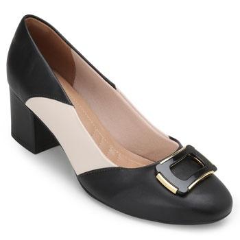 Sapato Lady Queen 19019/1300299 Preto-Nude TAM 40 ao 44