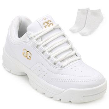 Tênis Dad Sneakers Logus LG19-19960P Branco + Brinde