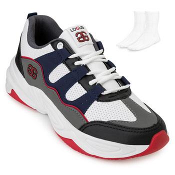 Tênis Dad Sneaker Logus e Meia LG20-20440P Branco-Marinho-Preto