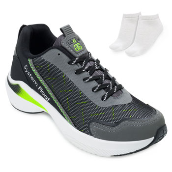 Tênis Running Logus e Meia LG21-21060P Grafite-Preto-Verde