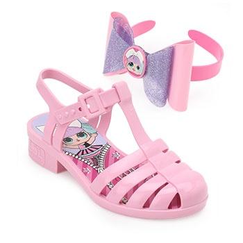 Sandália LOL Laço Mania Infantil 22004 Rosa