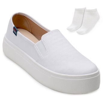 Slip On Flatform Moleca ML18-5658100 Branco + Brinde