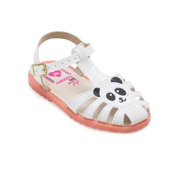 Sandália Panda Molekinha Baby MK21-2700112 Branco-Preto-Rosa
