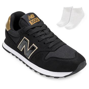 Tênis New Balance e Meia NB20-GW500HGB Preto-Dourado