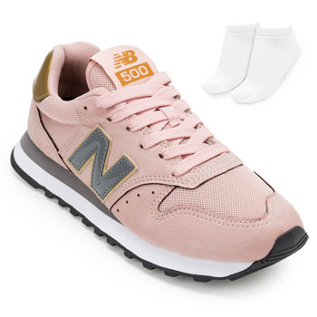 Tênis New Balance e Meia NB20-GW500HGR Rosa-Dourado