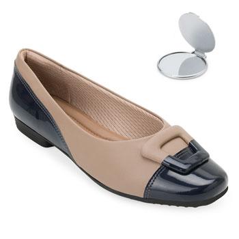 Sapato Comfort Piccadilly e Espelho PD20-251073 Marinho-Caramelo