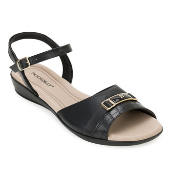 Sandália Comfort Piccadilly PD20-500255 Preto-Bege TAM 40 ao 44
