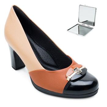 Sapato Piccadilly e Espelho PD21-131090 Bege-Caramelo-Preto