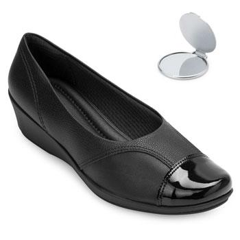 Sapato Anabela Piccadilly e Espelho PD20-144062 Preto