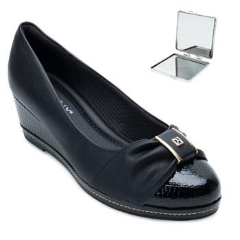 Sapato Anabela Piccadilly e Espelho PD21-348003 Preto-Verniz