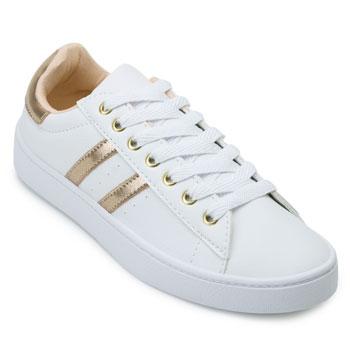 Tênis Casual Pro Feet PF21-TF010 Branco-Dourado