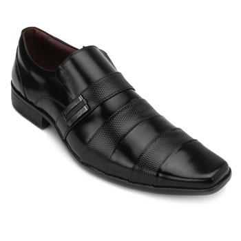 Sapato Pro Mais Couro 0687 Preto-Colmeia Preto TAM 44 ao 48
