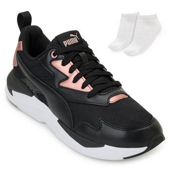 Tênis Dad Sneaker Puma X-Ray e Meia PM20-374737 Preto-Rose-Branco