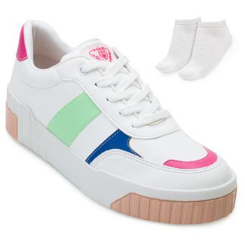 Tênis Flatform Quiz e Meia QZ21-65183701 Branco-Verde-Pink