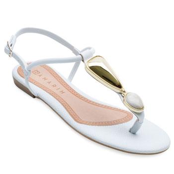 Sandália Rasteira Ramarim RM21-2024224 Branco-Dourado