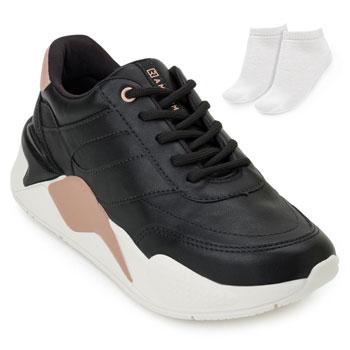 Tênis Dad Sneaker Ramarim e Meia RM20-2072203 Preto-Nude