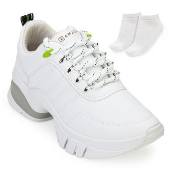 Tênis Sneaker Dad  Ramarim e Meia RM20 2080203 Branco-Cinza-Verde