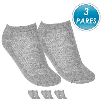 Kit 3 Pares Meia Soquete Top Fill TF19-SQT-M Cinza