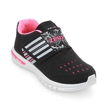 Tênis Zeus Kids Baby ZK19-3X Branco-Preto-Pink