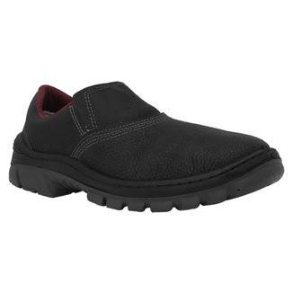 Sapato Pé de Ferro Bico em PVC Masculino Preto-Vermelho TAM 44 ao 46