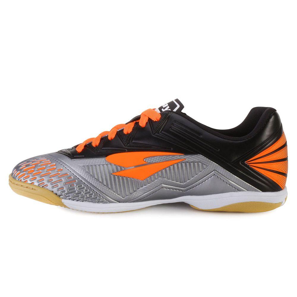 e0a3c55f2b ... Chuteira Futsal Dray DR18-367CO Chumbo-Laranja ...