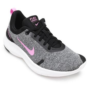 Tênis Nike Flex Expercience RN 8 NK19 Cinza-Preto-Rosa