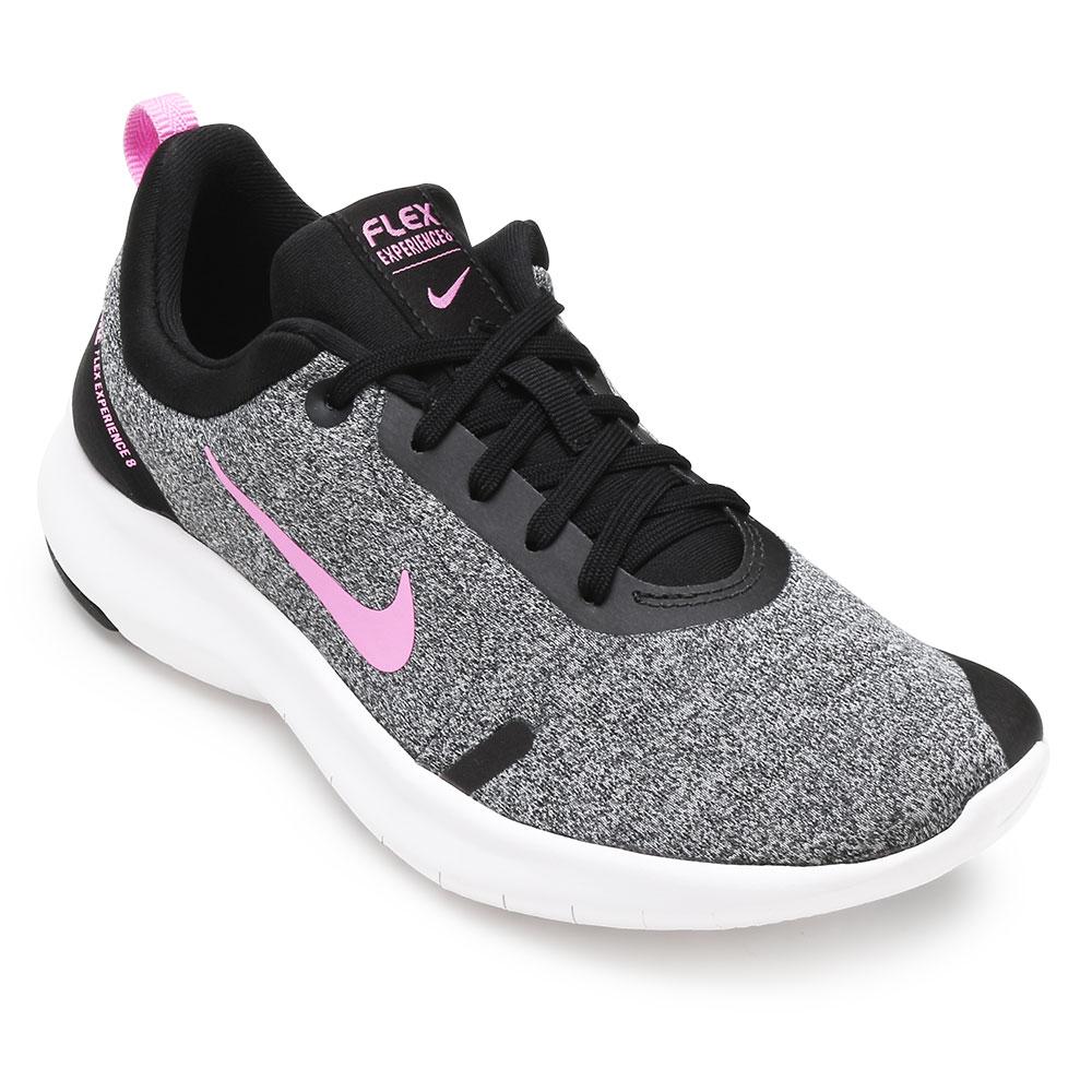 cc6bfac84a Tênis Nike Flex Expercience RN 8 NK19 Cinza-Preto-Rosa | Alex Shoes