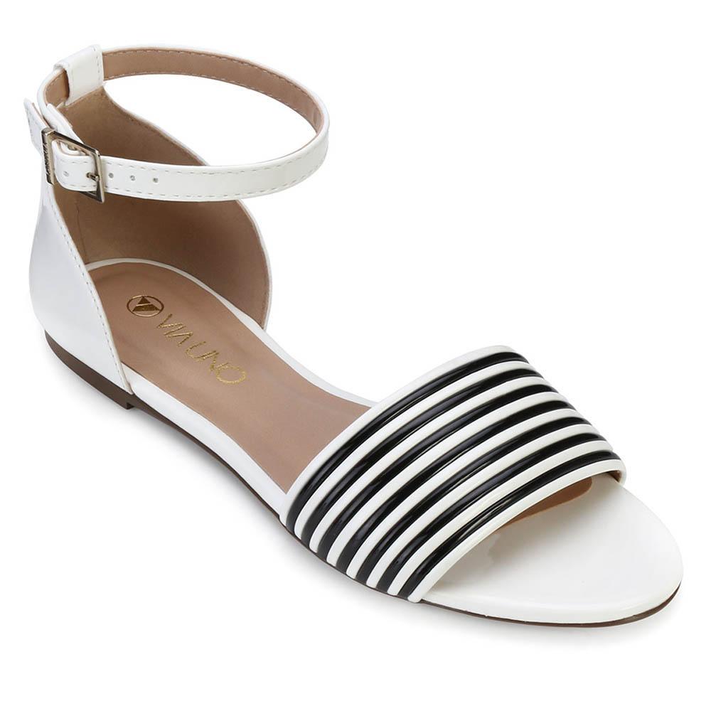 164474845 Sandália Rasteira Via Uno VU18-018229 Branco-Preto | Alex Shoes